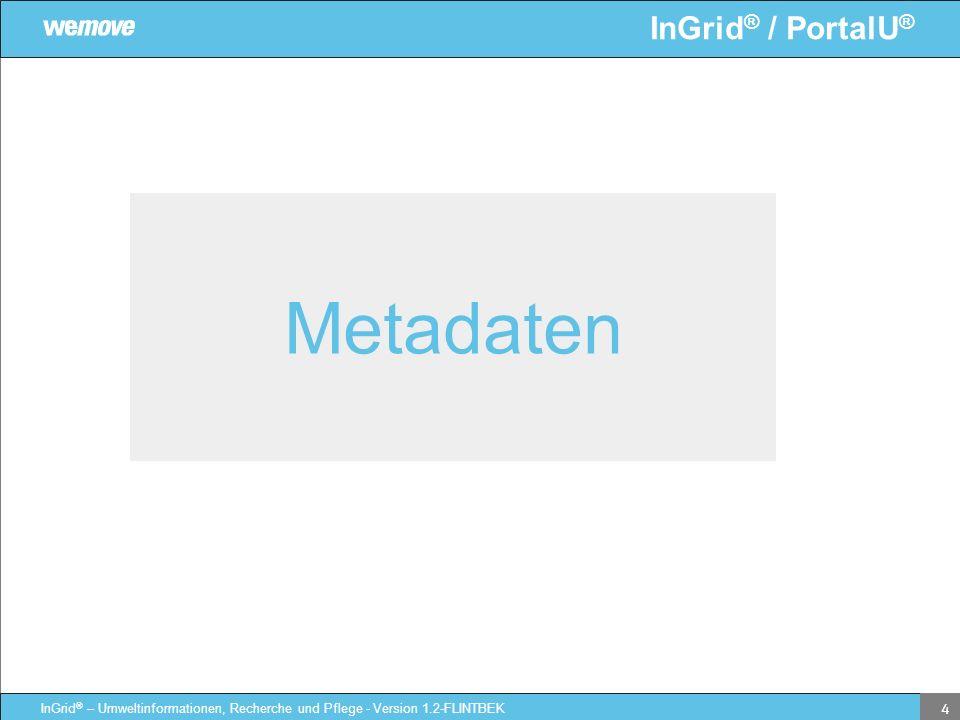 InGrid ® / PortalU ® InGrid ® – Umweltinformationen, Recherche und Pflege - Version 1.2-FLINTBEK 4 Metadaten