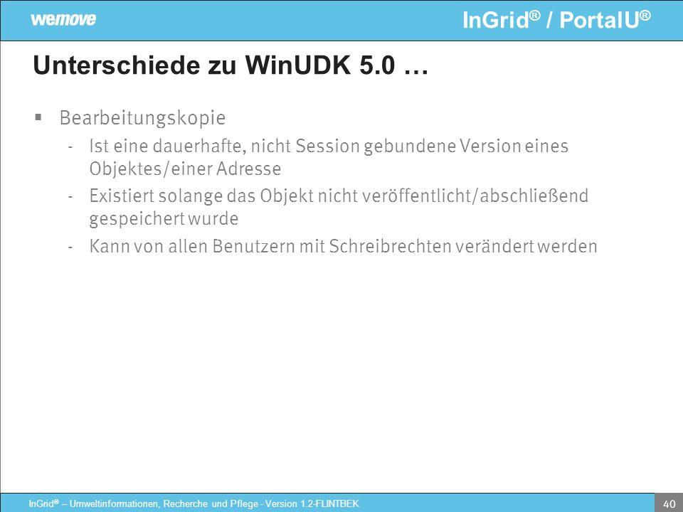 InGrid ® / PortalU ® InGrid ® – Umweltinformationen, Recherche und Pflege - Version 1.2-FLINTBEK 40 Unterschiede zu WinUDK 5.0 … Bearbeitungskopie - I