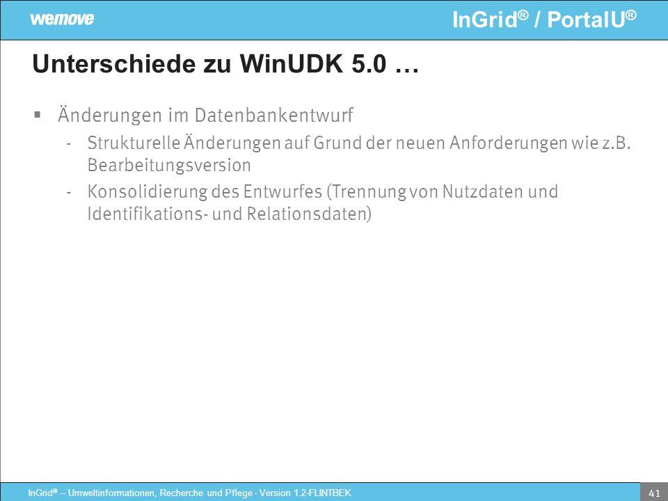 InGrid ® / PortalU ® InGrid ® – Umweltinformationen, Recherche und Pflege - Version 1.2-FLINTBEK 41 Unterschiede zu WinUDK 5.0 … Änderungen im Datenba