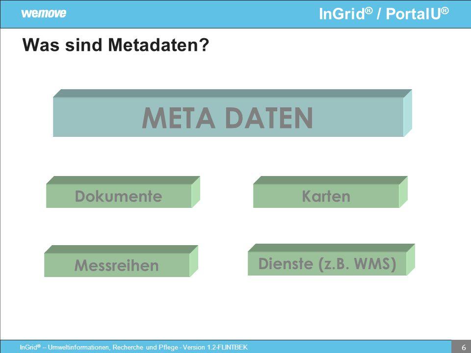 InGrid ® / PortalU ® InGrid ® – Umweltinformationen, Recherche und Pflege - Version 1.2-FLINTBEK 6 Was sind Metadaten? META DATEN DokumenteKarten Mess