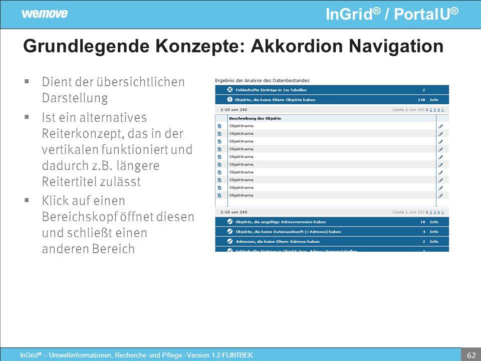 InGrid ® / PortalU ® InGrid ® – Umweltinformationen, Recherche und Pflege - Version 1.2-FLINTBEK 62 Grundlegende Konzepte: Akkordion Navigation Dient
