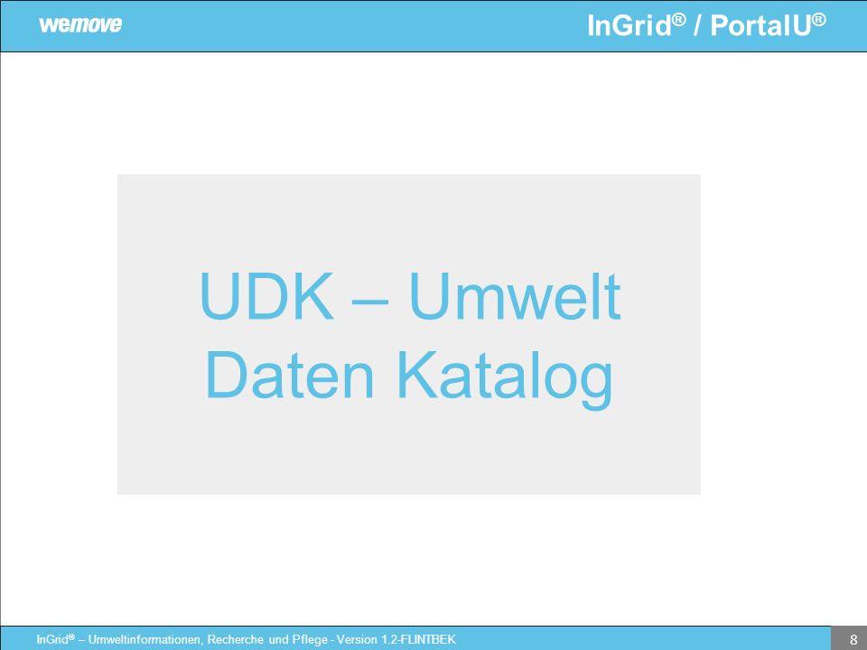 InGrid ® / PortalU ® InGrid ® – Umweltinformationen, Recherche und Pflege - Version 1.2-FLINTBEK 8 UDK – Umwelt Daten Katalog