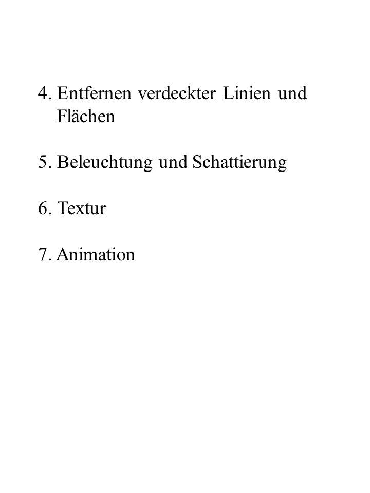 4. Entfernen verdeckter Linien und Flächen 5. Beleuchtung und Schattierung 6. Textur 7. Animation