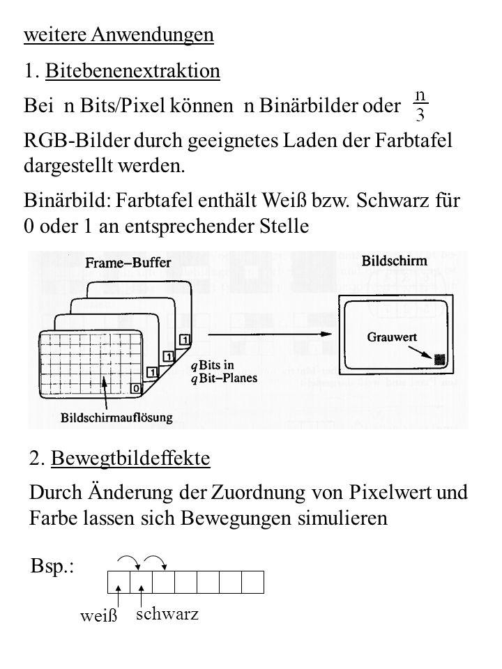 weitere Anwendungen 1. Bitebenenextraktion Bei n Bits/Pixel können n Binärbilder oder RGB-Bilder durch geeignetes Laden der Farbtafel dargestellt werd