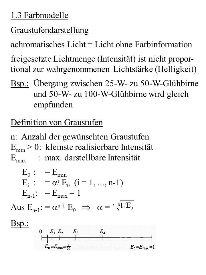 1.3 Farbmodelle Graustufendarstellung achromatisches Licht = Licht ohne Farbinformation freigesetzte Lichtmenge (Intensität) ist nicht propor- tional