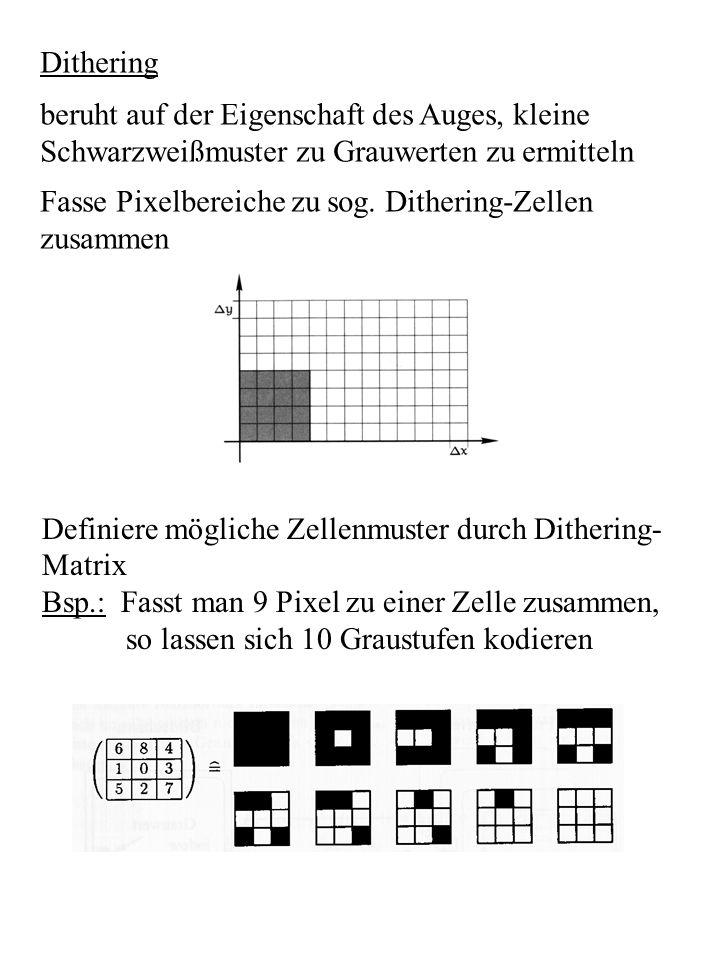 Dithering beruht auf der Eigenschaft des Auges, kleine Schwarzweißmuster zu Grauwerten zu ermitteln Fasse Pixelbereiche zu sog. Dithering-Zellen zusam