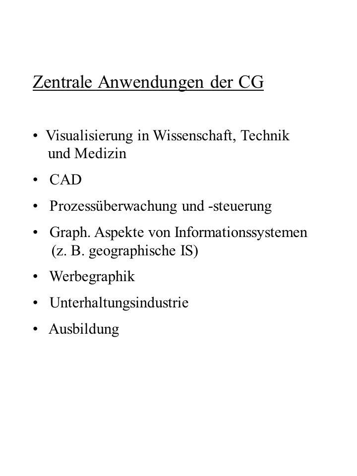 Zentrale Anwendungen der CG Visualisierung in Wissenschaft, Technik und Medizin CAD Prozessüberwachung und -steuerung Graph. Aspekte von Informationss