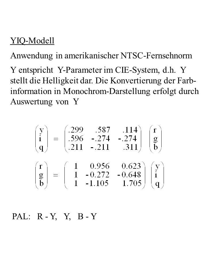 YIQ-Modell Anwendung in amerikanischer NTSC-Fernsehnorm Y entspricht Y-Parameter im CIE-System, d.h. Y stellt die Helligkeit dar. Die Konvertierung de