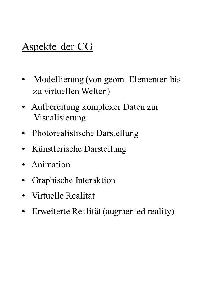 Aspekte der CG Modellierung (von geom. Elementen bis zu virtuellen Welten) Aufbereitung komplexer Daten zur Visualisierung Photorealistische Darstellu