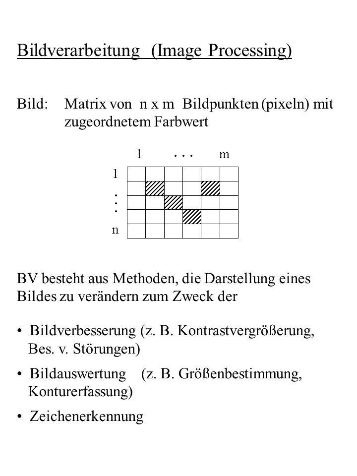 Bildverarbeitung (Image Processing) Bild:Matrix von n x m Bildpunkten (pixeln) mit zugeordnetem Farbwert 1m 1 n BV besteht aus Methoden, die Darstellu