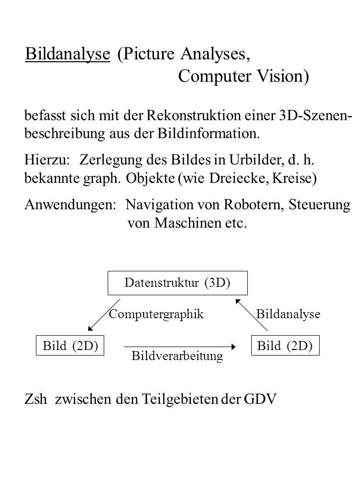 Bildanalyse (Picture Analyses, Computer Vision) befasst sich mit der Rekonstruktion einer 3D-Szenen- beschreibung aus der Bildinformation. Hierzu: Zer