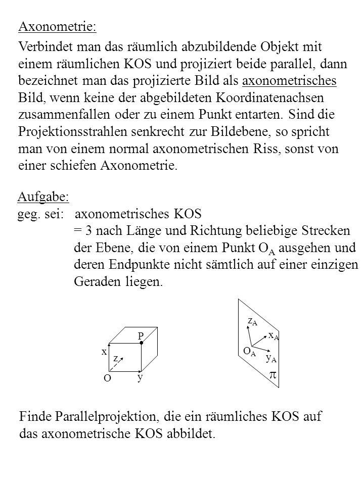 Herleitung der Abbildungsvorschrift: Sind v 1, v 2, v 3 die Verzerrungsfaktoren, die die Längen- verzerrung der Koordinatenachsen bei der Parallelprojekt.