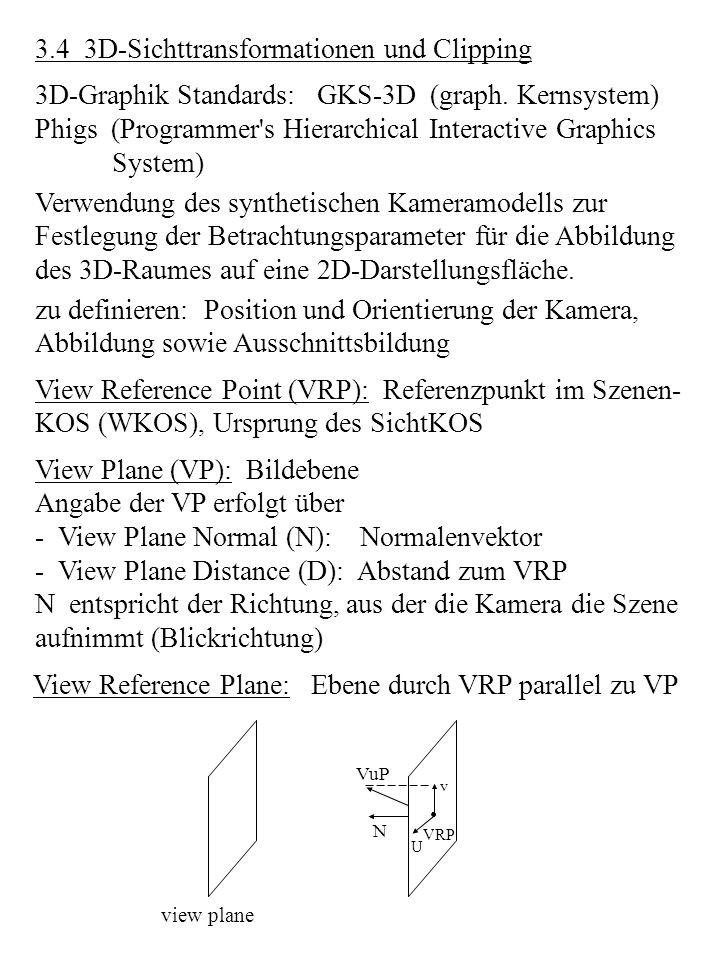 3.4 3D-Sichttransformationen und Clipping 3D-Graphik Standards: GKS-3D (graph. Kernsystem) Phigs (Programmer's Hierarchical Interactive Graphics Syste