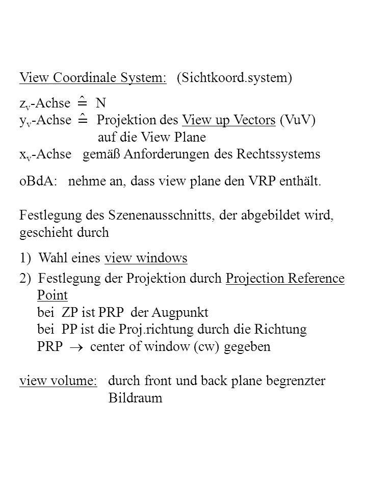 View Coordinale System: (Sichtkoord.system) z v -Achse N y v -Achse Projektion des View up Vectors (VuV) auf die View Plane x v -Achse gemäß Anforderu