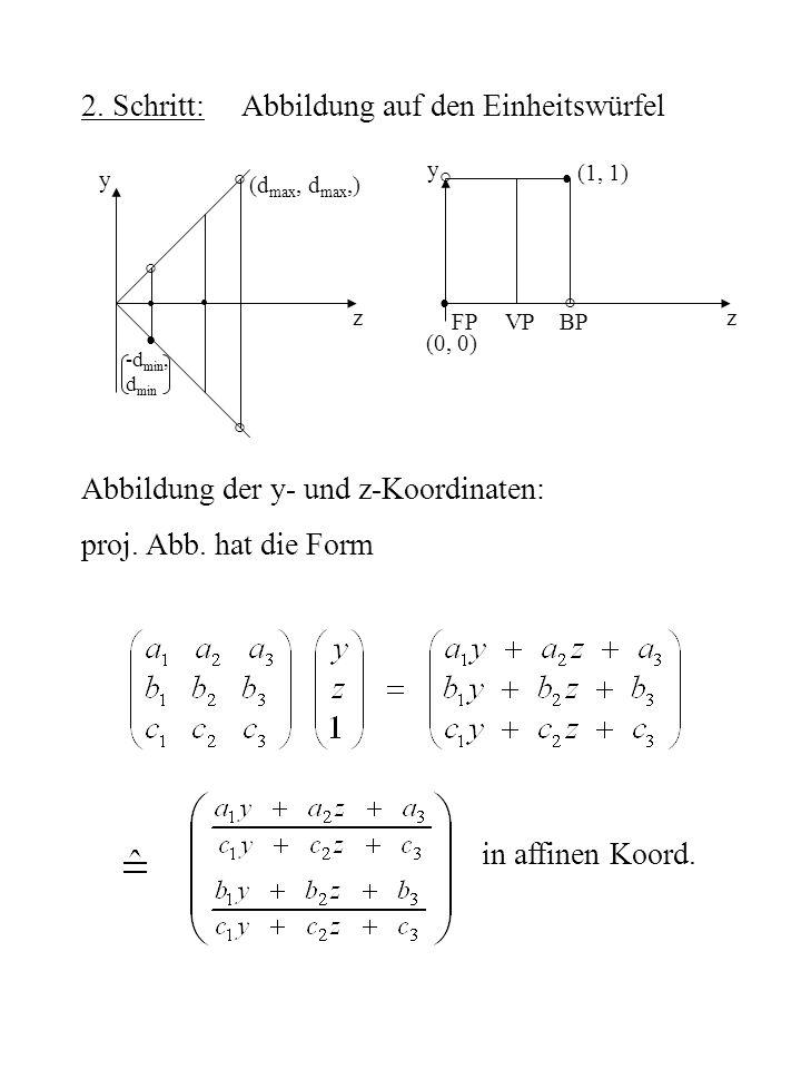 2. Schritt: Abbildung auf den Einheitswürfel ° ° ° ° ° (d max, d max,) (0, 0) z (1, 1) FPVPBP z y y -d min, d min Abbildung der y- und z-Koordinaten: