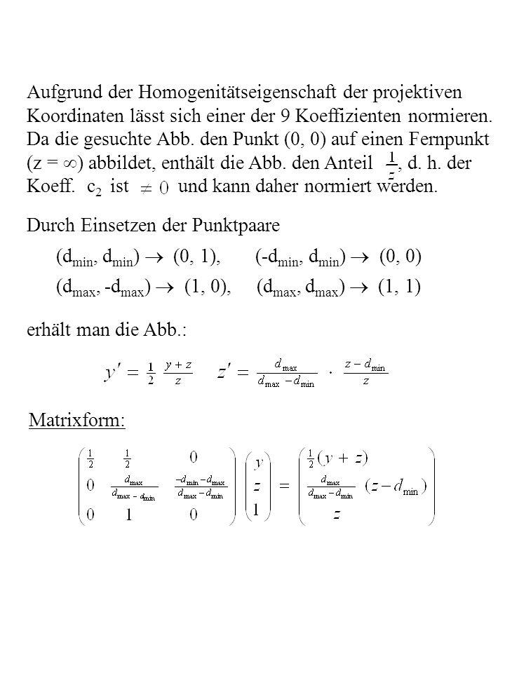 Aufgrund der Homogenitätseigenschaft der projektiven Koordinaten lässt sich einer der 9 Koeffizienten normieren. Da die gesuchte Abb. den Punkt (0, 0)
