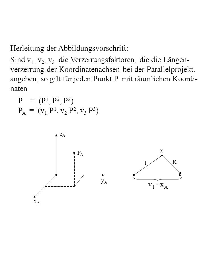 Herleitung der Abbildungsvorschrift: Sind v 1, v 2, v 3 die Verzerrungsfaktoren, die die Längen- verzerrung der Koordinatenachsen bei der Parallelproj