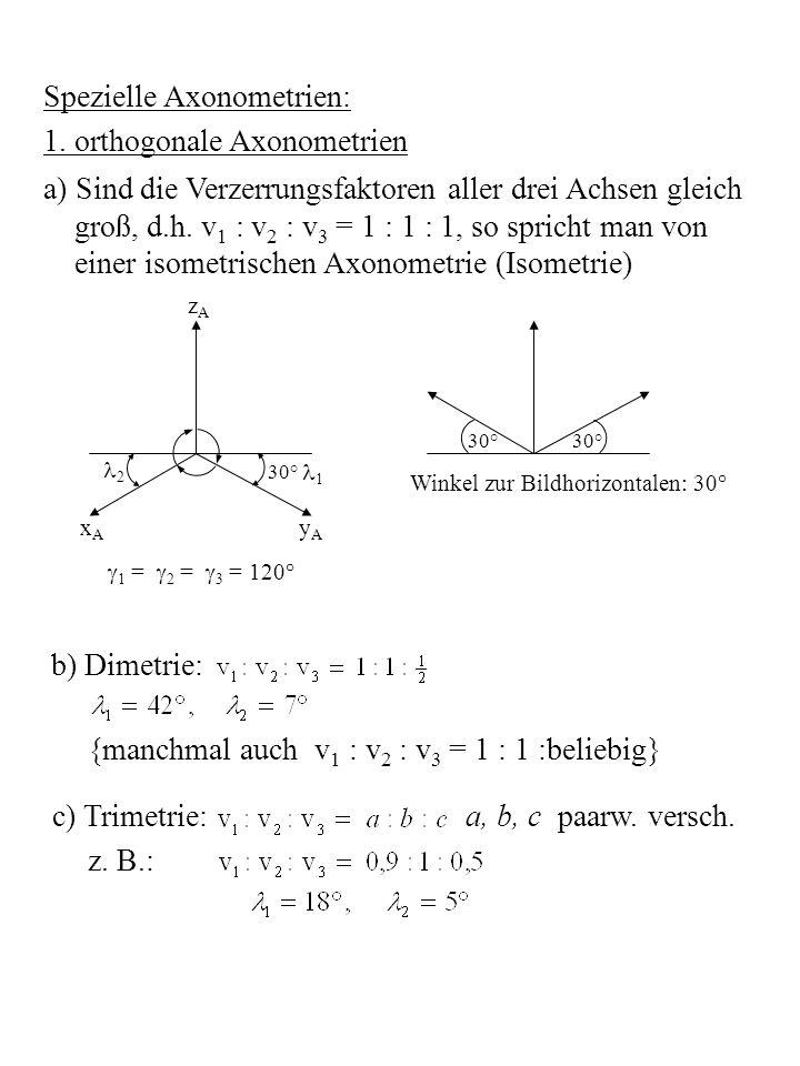 Spezielle Axonometrien: 1. orthogonale Axonometrien a) Sind die Verzerrungsfaktoren aller drei Achsen gleich groß, d.h. v 1 : v 2 : v 3 = 1 : 1 : 1, s