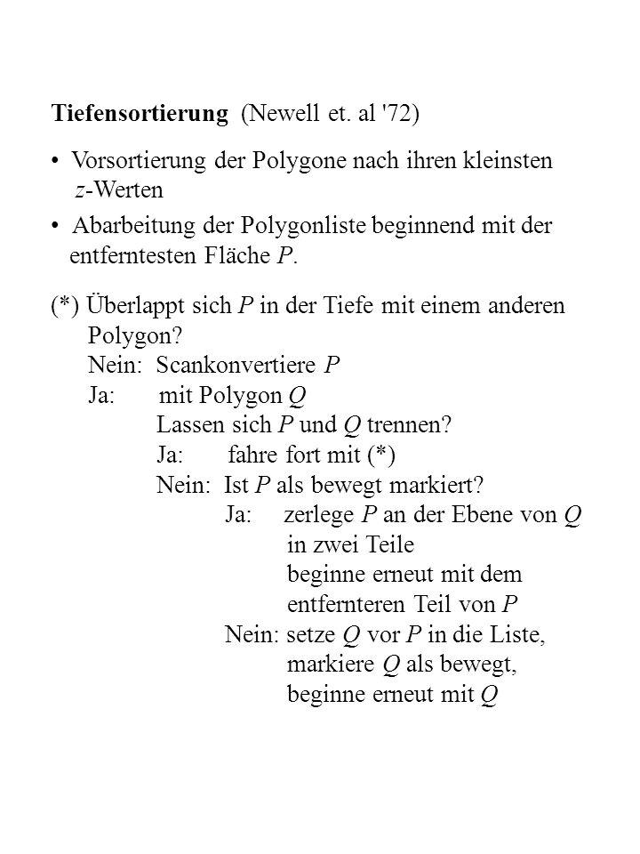 Tiefensortierung (Newell et. al '72) Vorsortierung der Polygone nach ihren kleinsten z-Werten Abarbeitung der Polygonliste beginnend mit der entfernte