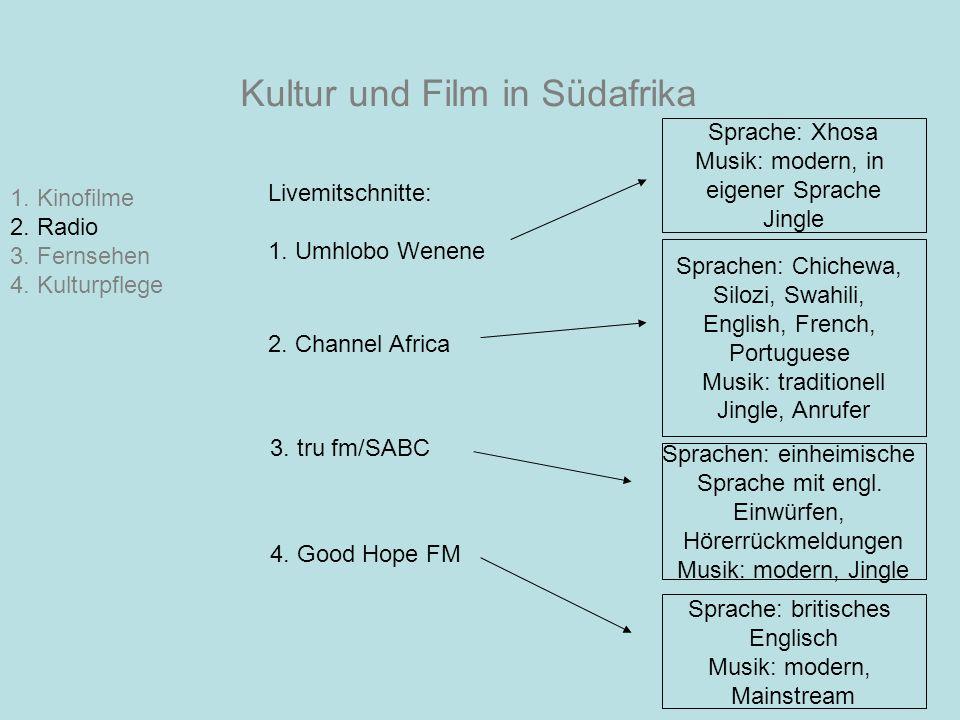 Kultur und Film in Südafrika 1. Kinofilme 2. Radio 3. Fernsehen 4. Kulturpflege Livemitschnitte: 1. Umhlobo Wenene Sprache: Xhosa Musik: modern, in ei