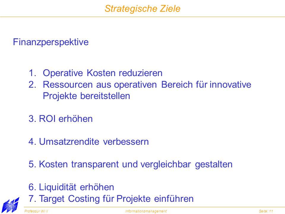 Professur WI IIInformationsmanagementSeite: 11 Strategische Ziele Finanzperspektive 1.Operative Kosten reduzieren 2.Ressourcen aus operativen Bereich