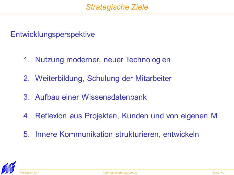 Professur WI IIInformationsmanagementSeite: 15 Strategische Ziele Entwicklungsperspektive 1.Nutzung moderner, neuer Technologien 2.Weiterbildung, Schu
