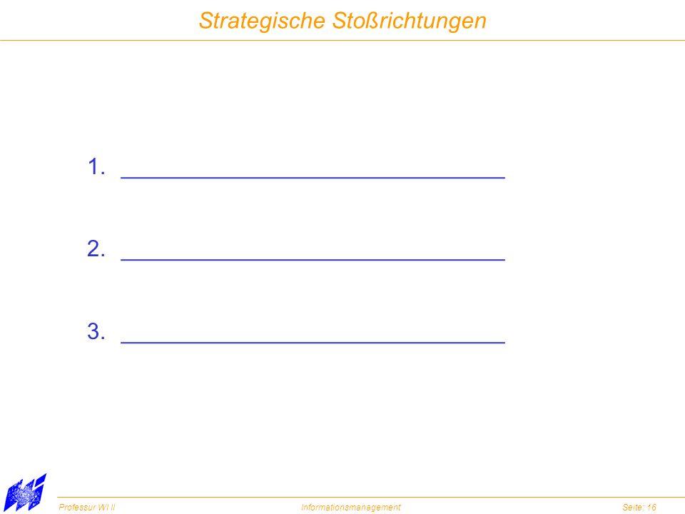 Professur WI IIInformationsmanagementSeite: 16 Strategische Stoßrichtungen 1.______________________________ 2.______________________________ 3._______
