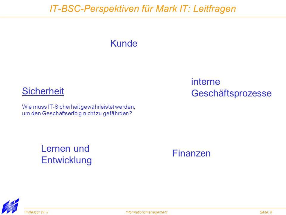 Professur WI IIInformationsmanagementSeite: 8 IT-BSC-Perspektiven für Mark IT: Leitfragen Kunde interne Geschäftsprozesse Finanzen Lernen und Entwickl
