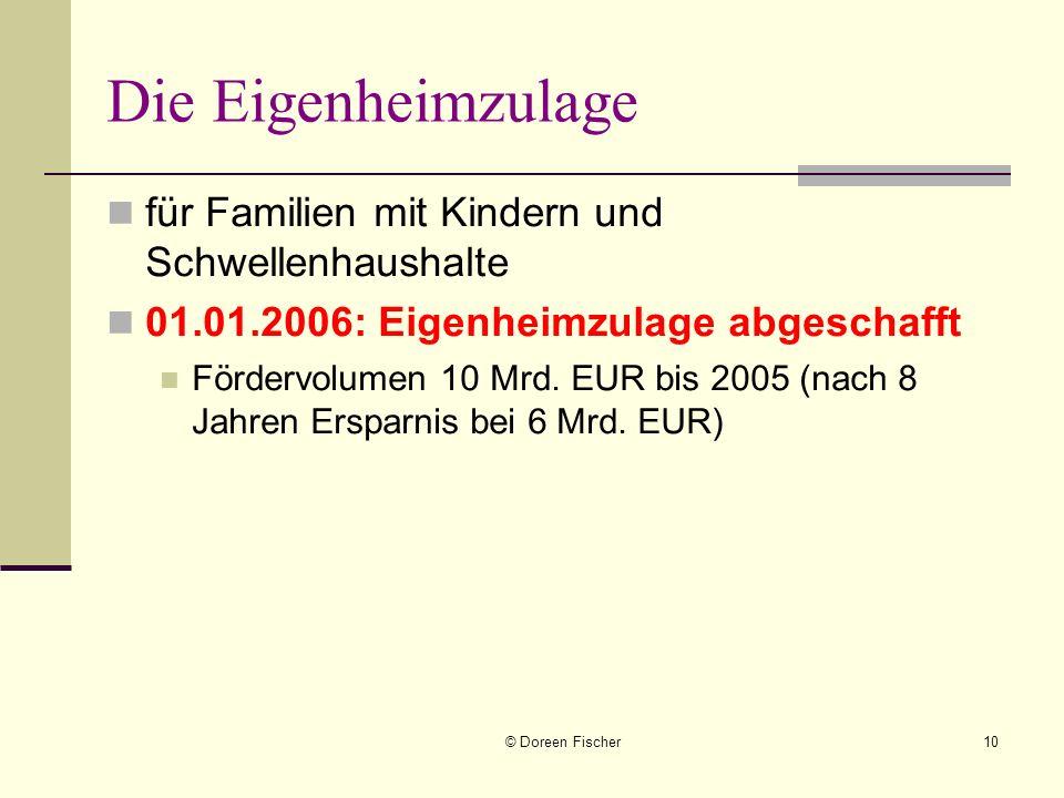 © Doreen Fischer10 Die Eigenheimzulage für Familien mit Kindern und Schwellenhaushalte 01.01.2006: Eigenheimzulage abgeschafft Fördervolumen 10 Mrd. E