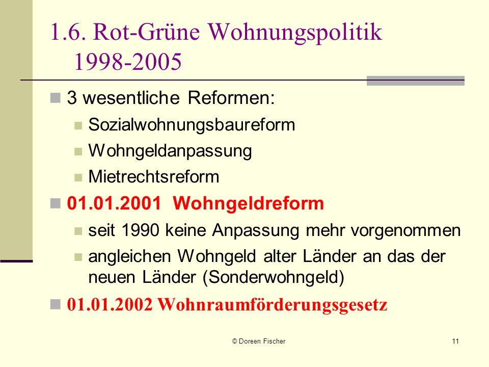 © Doreen Fischer11 1.6. Rot-Grüne Wohnungspolitik 1998-2005 3 wesentliche Reformen: Sozialwohnungsbaureform Wohngeldanpassung Mietrechtsreform 01.01.2