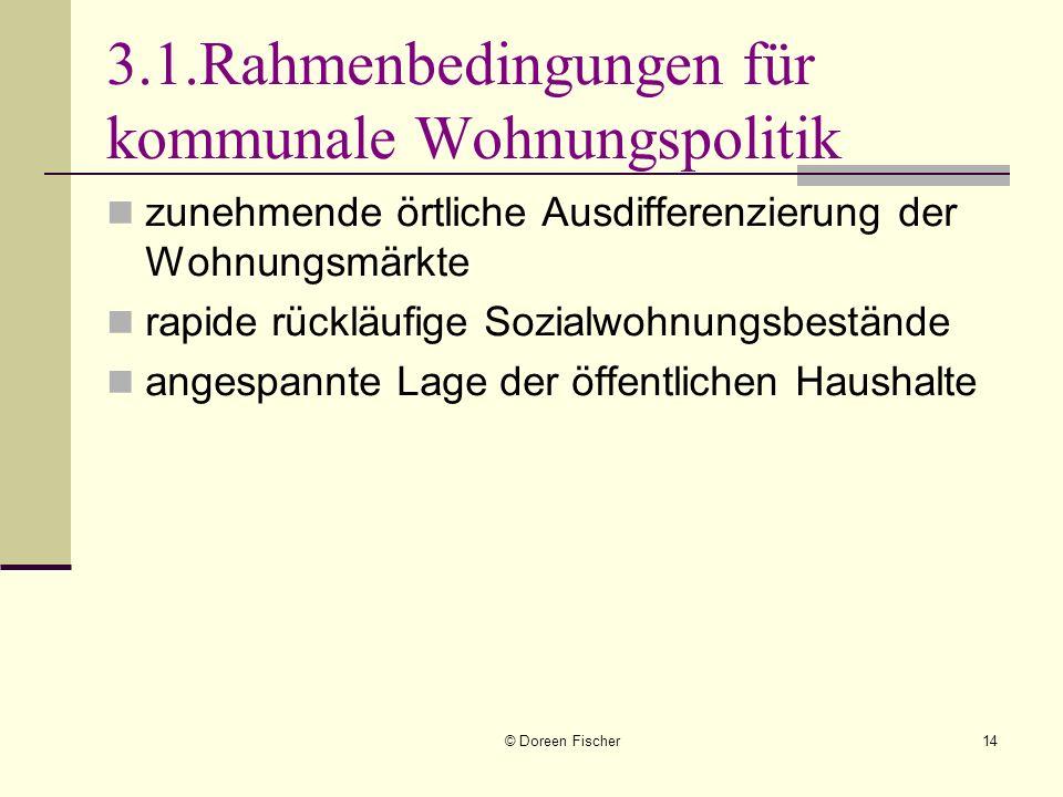 © Doreen Fischer14 3.1.Rahmenbedingungen für kommunale Wohnungspolitik zunehmende örtliche Ausdifferenzierung der Wohnungsmärkte rapide rückläufige So