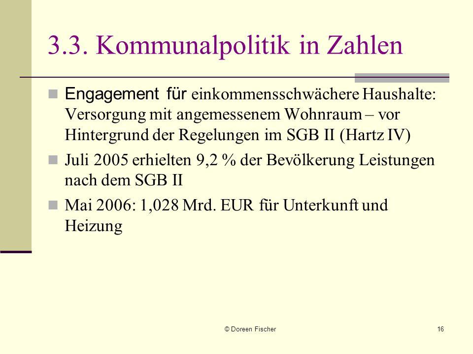 © Doreen Fischer16 3.3. Kommunalpolitik in Zahlen Engagement für einkommensschwächere Haushalte: Versorgung mit angemessenem Wohnraum – vor Hintergrun