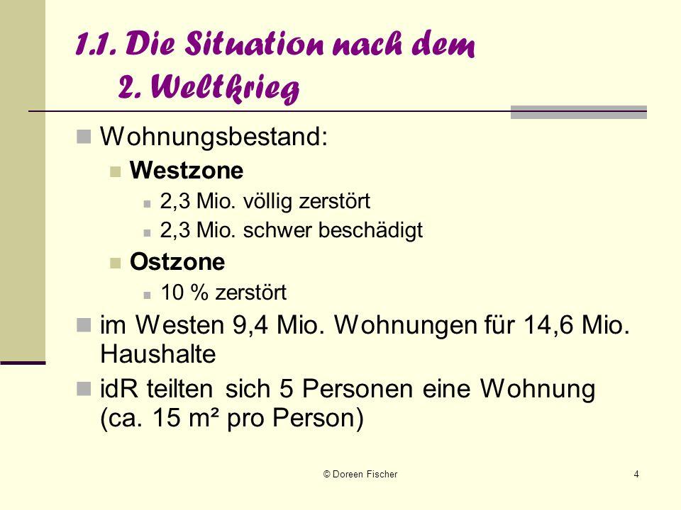 © Doreen Fischer4 1.1. Die Situation nach dem 2. Weltkrieg Wohnungsbestand: Westzone 2,3 Mio. völlig zerstört 2,3 Mio. schwer beschädigt Ostzone 10 %