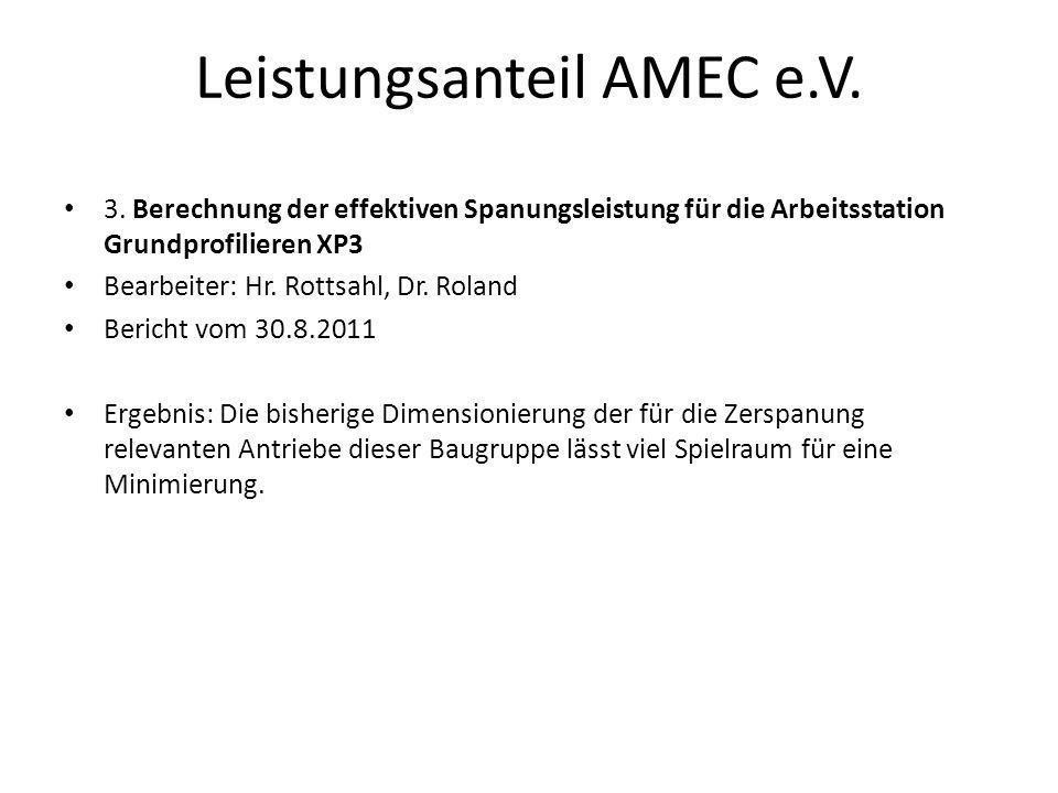 Leistungsanteil AMEC e.V. 3. Berechnung der effektiven Spanungsleistung für die Arbeitsstation Grundprofilieren XP3 Bearbeiter: Hr. Rottsahl, Dr. Rola