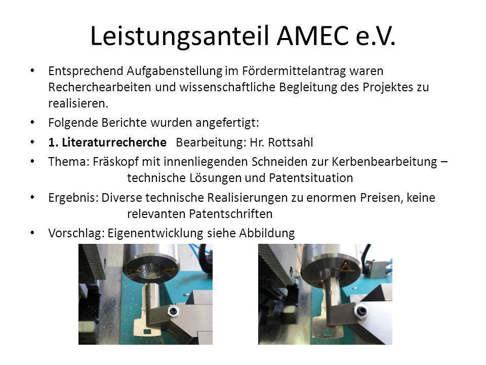 Leistungsanteil AMEC e.V. Entsprechend Aufgabenstellung im Fördermittelantrag waren Recherchearbeiten und wissenschaftliche Begleitung des Projektes z