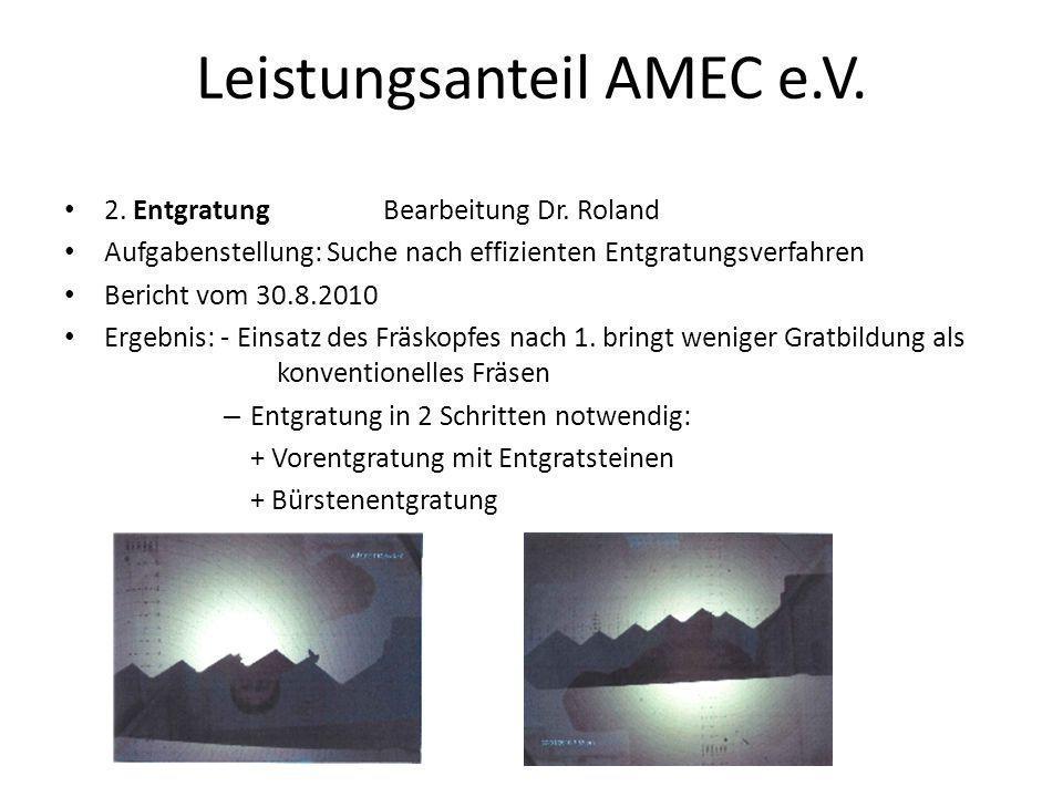 Leistungsanteil AMEC e.V. 2. Entgratung Bearbeitung Dr. Roland Aufgabenstellung: Suche nach effizienten Entgratungsverfahren Bericht vom 30.8.2010 Erg
