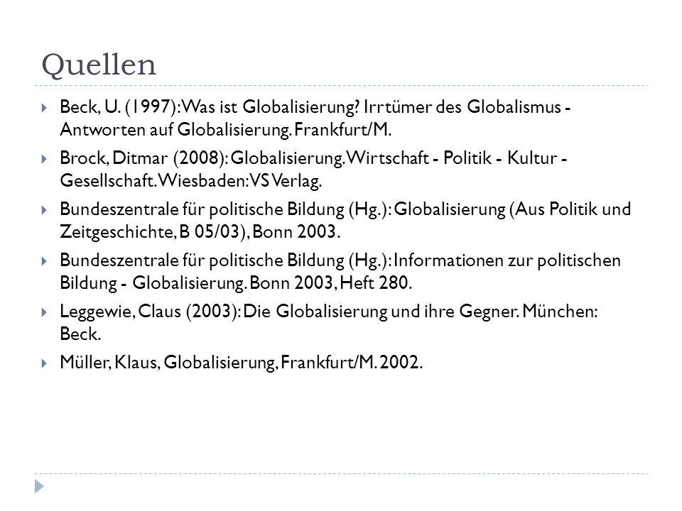 Quellen Beck, U. (1997): Was ist Globalisierung.