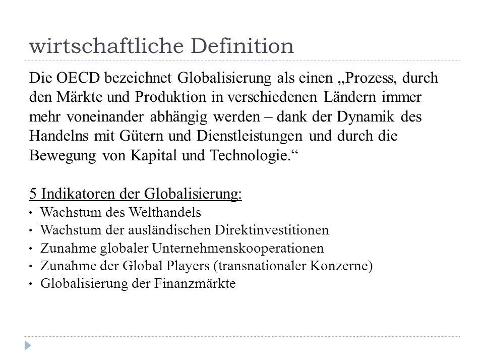 wirtschaftliche Definition Die OECD bezeichnet Globalisierung als einen Prozess, durch den Märkte und Produktion in verschiedenen Ländern immer mehr voneinander abhängig werden – dank der Dynamik des Handelns mit Gütern und Dienstleistungen und durch die Bewegung von Kapital und Technologie.