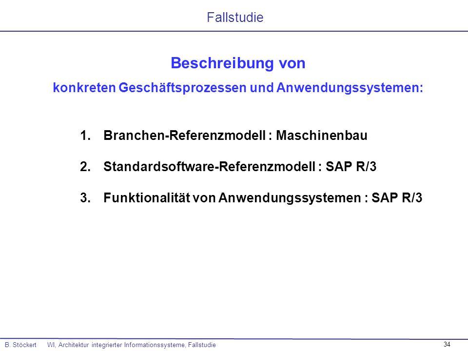 34 B. Stöckert WI, Architektur integrierter Informationssysteme, Fallstudie Fallstudie Beschreibung von konkreten Geschäftsprozessen und Anwendungssys