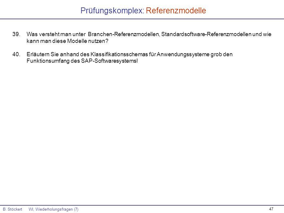 47 Prüfungskomplex: Referenzmodelle B. Stöckert WI, Wiederholungsfragen (7) 39.Was versteht man unter Branchen-Referenzmodellen, Standardsoftware-Refe