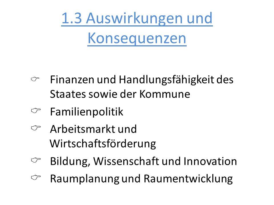 1.3 Auswirkungen und Konsequenzen Finanzen und Handlungsfähigkeit des Staates sowie der Kommune Familienpolitik Arbeitsmarkt und Wirtschaftsförderung