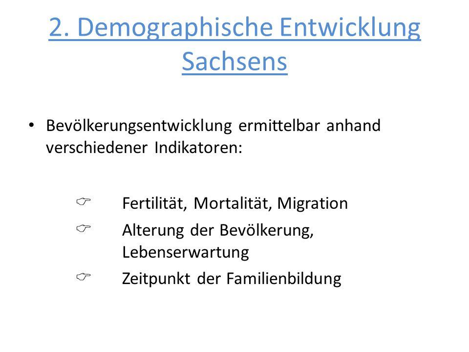 2. Demographische Entwicklung Sachsens Bevölkerungsentwicklung ermittelbar anhand verschiedener Indikatoren: Fertilität, Mortalität, Migration Alterun