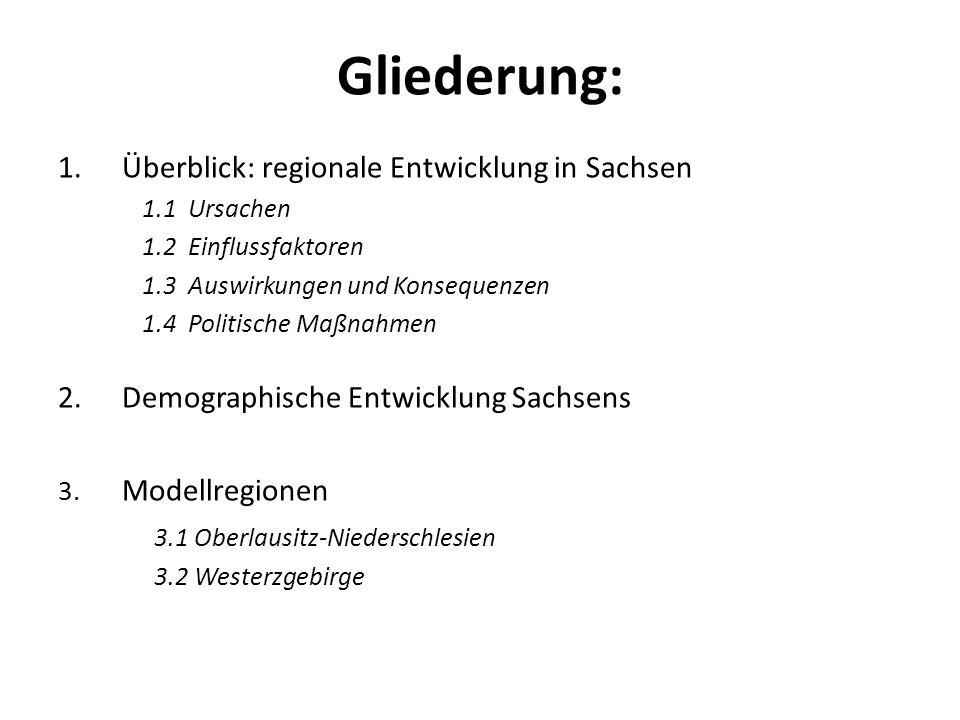 Gliederung: 1.Überblick: regionale Entwicklung in Sachsen 1.1 Ursachen 1.2 Einflussfaktoren 1.3 Auswirkungen und Konsequenzen 1.4 Politische Maßnahmen