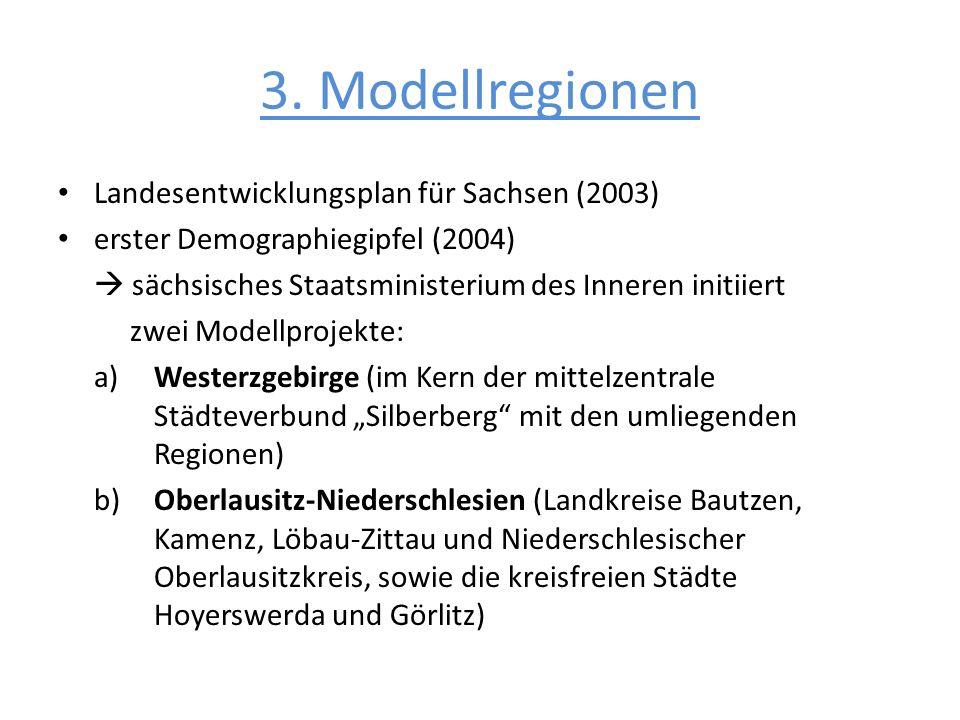 Landesentwicklungsplan für Sachsen (2003) erster Demographiegipfel (2004) sächsisches Staatsministerium des Inneren initiiert zwei Modellprojekte: a)W