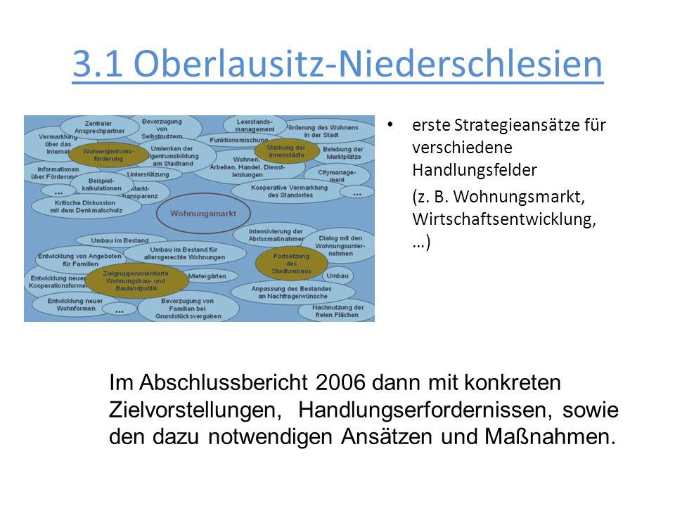 erste Strategieansätze für verschiedene Handlungsfelder (z. B. Wohnungsmarkt, Wirtschaftsentwicklung, …) Im Abschlussbericht 2006 dann mit konkreten Z
