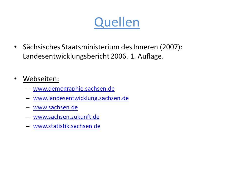 Quellen Sächsisches Staatsministerium des Inneren (2007): Landesentwicklungsbericht 2006. 1. Auflage. Webseiten: – www.demographie.sachsen.de www.demo