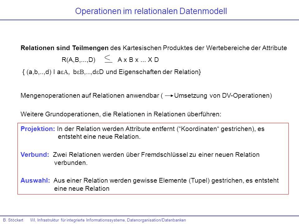 Operationen im relationalen Datenmodell Relationen sind Teilmengen des Kartesischen Produktes der Wertebereiche der Attribute R(A,B,...,D) A x B x...