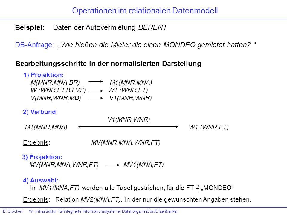 Operationen im relationalen Datenmodell Beispiel: Daten der Autovermietung BERENT DB-Anfrage: Wie hießen die Mieter,die einen MONDEO gemietet hatten?