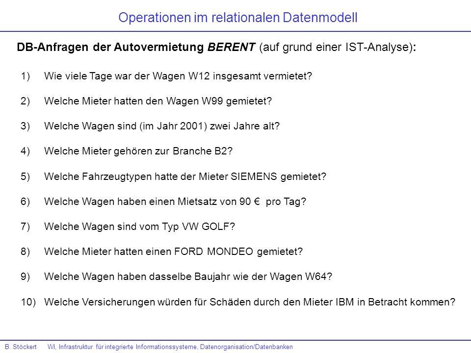 Operationen im relationalen Datenmodell DB-Anfragen der Autovermietung BERENT (auf grund einer IST-Analyse): 1)Wie viele Tage war der Wagen W12 insges