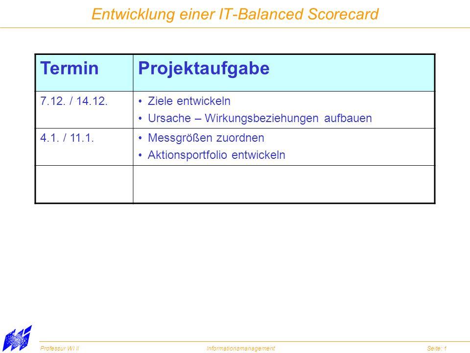 Professur WI IIInformationsmanagementSeite: 1 Entwicklung einer IT-Balanced Scorecard TerminProjektaufgabe 7.12. / 14.12.Ziele entwickeln Ursache – Wi